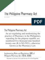 RA 10918 - Philippine Pharmacy Act