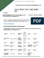 Gmail - Booking Confirmation on IRCTC, Train_ 11463, 28-Mar-2019, SL, SMNH - ADI