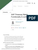 SAP Threeway Match Functionality & Configuration - SAP Blogs