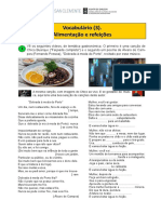 Vocabulário 3. Alimentação e Refeições