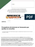 Proveedores de Internet en Venezuela Que Quizas No Conocas