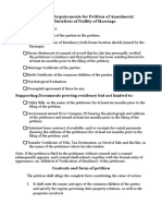 Check List of Requirements for Petition of Annulment:Declaration of Nullity of Marriage