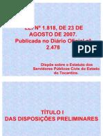 Lei 1818 Estatuto Servidor Publico Do Estado Do Tocantins