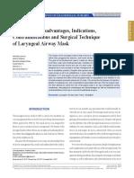 Advantages Disadvantages Indications Contraindications of LMA
