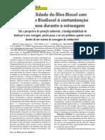 Suscetibilidade Do Óleo Diesel Com 2 e 5% de Biodiesel