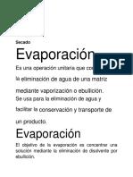 Evaporación y Secado