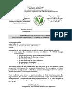 Declaration Sur Lhonneur 17 18