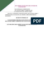 Ley Org Nica Del Poder Legislativo Del Estado de Guanajuato
