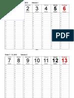 Calendario Semanal 2019 1