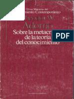 Adorno Theodor - Sobre La Metacritica De La Teoria Del Conocimiento.PDF
