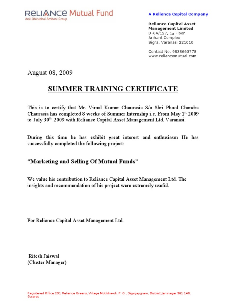Summer Training Certificate  Completion Certificate Format