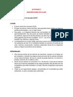 Actividad 2, Descripción de Paisaje UniVO y Fragmentos de Videos
