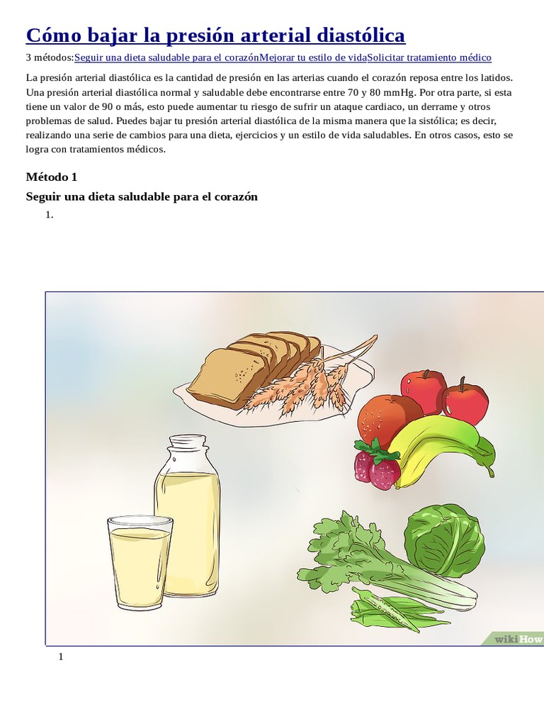 ¿Cómo se puede bajar la presión arterial diastólica?