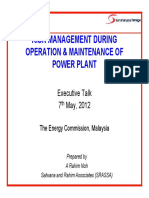 Risk Management During Operation and Maintainance of Power Project