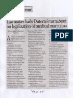 Business Mirror, Mar. 12, 2019, Lawmaker hails Duterte's tyrnabout on legalization of medical marijuana.pdf