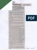 Business World, Mar. 12, 2019, Senate wont push medical marijuana bill.pdf