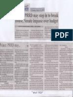 Manila Bulletin, Mar. 12, 2019, Palace PRRD may step in to break House, Senate impasse over budget.pdf