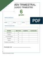Examen Trimestral Sexto Grado Segundo Trimestre 2018-2019