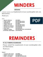 Reminders 2