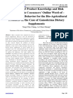 The Effect of Product Knowledge and Risk Perception on Consumers' Online Word-of -Mouth Search Behavior for the Bio-Agricultural Products–in the Case of Ganoderma Dietary Supplements