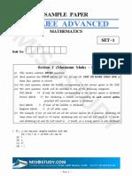 JEE Advanced 2019 Mathematics Sample Question Paper-I