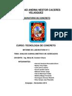 Informe de ENSAYOS DE AGREGADOS PARA CONCRETO