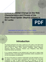 Effects of Habitat Change on the Web Characteristics and Fitness of the Giant Wood Spider (Nephila Pilipes) in Sri Lanka