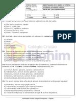 AVALIÇÃO PARCIAL DE LÍNGUA PORTUGUESA - 6° ANO