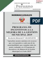 PROGRAMA DE INCENTIVOS A LA MEJORA DE LA GESTIÓN MUNICIPAL 2019