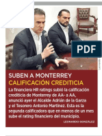 12-03-19 Suben a Monterrey calificación crediticia