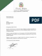 Carta de condolencias del presidente Danilo Medina a Fior D´Aliza Taveras por fallecimiento de su hermana Rosanna Taveras