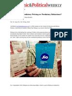 Reliance Jio_ Predatory Pricing or Predatory Behaviour