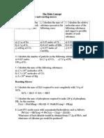 Worksheet on Moles
