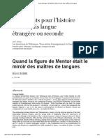 Quand La Figure de Mentor Était Le Miroir Des Maîtres de Langues