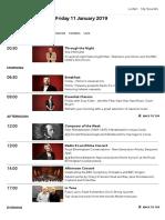 BBC Radio 3 - Schedules, Friday 11 January 2019