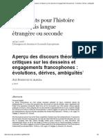Aperçu Des Discours Théoriques Et Critiques Sur Les Desseins Et Engagements Francophones_ Évolutions, Dérives, Ambiguïtés