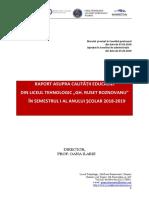 Raport Asupra Calitătii Educatiei Sem I - Liceul Gh. R Roznov. 2018-2019
