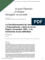 Le Fonctionnement Du Mot «Francophonie» Dans La Revue Esprit, Novembre 1962_ à La Recherche d'Une Définition