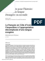 Le Français en Côte d'Ivoire_ de l'Imposition à l'Appropriation Décomplexée d'Une Langue Exogène