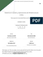 Maestría en Gestión y Operaciones de Infraestructuras Civiles