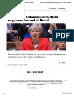 Les députés britanniques rejettent largement l'accord de Brexit