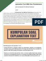 Kumpulan Soal Explanation Text SMA dan Pembahasan