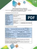 Guía de Actividades y Rúbrica de Evaluación - Tarea 3 – Solución de Problemas de Balance de Materia