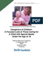 Report Caregivers of Children 11-12-09