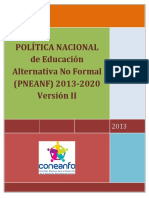 II Version Politica Nacional de Educacion a No Formal 2013-2020 Version Final Abril 2013