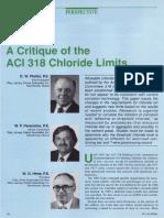 A Critique of the ACI 318 Chloride Limit
