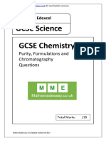 GCSE Chemistry. Purity and Chromatography AQA OCR Edexcel. Questions