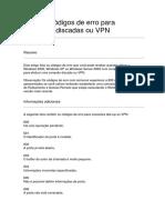 Lista de Códigos de Erro Para Conexões Discadas Ou VPN - Sistemas operacionais Windows