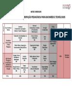 Matriz Curricular - Complementação Pedagógica
