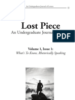 Lost Piece- What's to Know, Rhetorically Speaking